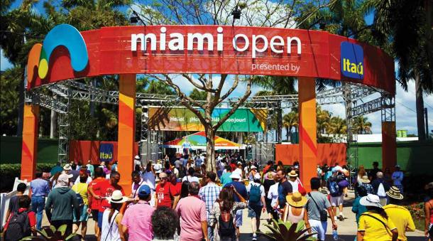 The main entrance at the Miami Open presented by Itau/Miami Open
