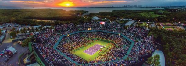 The sunsets over the Atlantic Ocean as the night session begins at the Miami Open on Key Biscayne/Miami Open