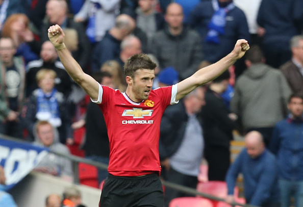Michael Carrick celebrates at full-time in the semi-final | Photo: Tom Purslow/Manchester United