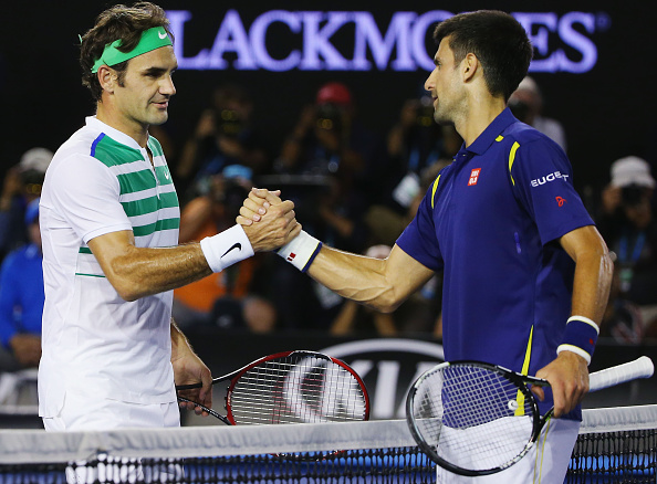 Roger Federer falls to Novak Djokovic in four sets in the semifinals. Credit: Michael Dodge/Getty Images