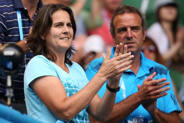 Martinez celebrates after Muguruza beats Caroline Wozniacki at the Australian Open in 2014 (Getty/Michael Dodge)