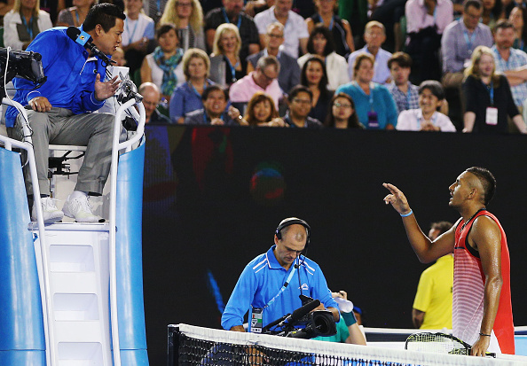 Nick Kyrgios argues with the chair umpire during his loss to Tomas Berdych. Credit: Michael Dodge/Getty Images]