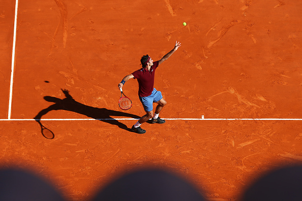 Federer serves as he tries to save a break point at the 2016 Monte-Carlo Rolex Masters. Credit: Michael Steele/Getty Images