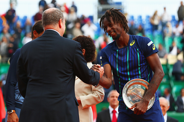 Gael Monfils receives the runner-up trophy at the Monte-Carlo Rolex Masters, where he lost in the final to Rafael Nadal (Getty/Michael Steele)