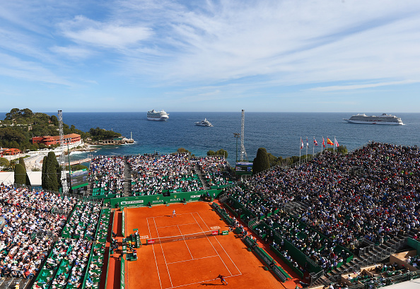 Federer and Bautista-Agut compete on a beautiful day in Monte Carlo. Credit: Michael Steele/Getty Images
