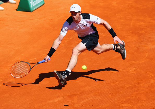 Murray runs down a forehand at the 2016 Monte-Carlo Rolex Masters. Credit: Michael Steele/Getty Images