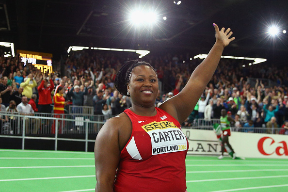 Michelle Carter after the World Indoor Championships in Portland (Getty/Ian Walton)