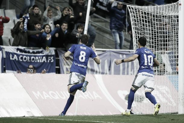 Michu hace su tradicional celebración tras marcar al Levante   Foto: Real Ovied