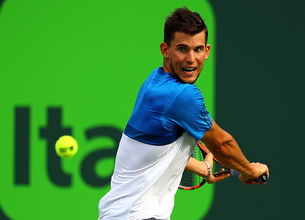 Thiem lines-up to rip his one-handed backhand. Credit: Mike Ehrmann/Getty Images