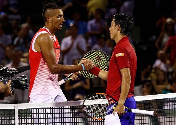 Kyrgios congratulates Nishikori on his victory. Credit: Mike Ehrmann/Getty Images