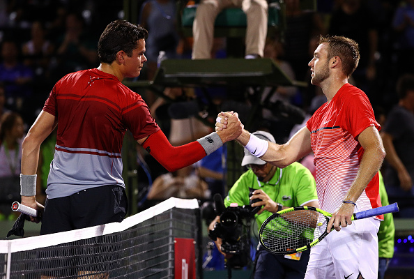 Raonic claimed his seventh consecutive victory over the American on Monday night. Credit: Mike Ehrmann/Getty Images