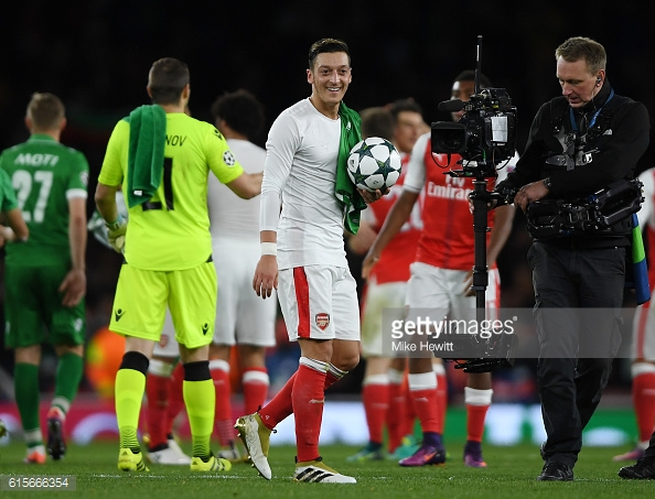 Ozil was in untouchable form, adding assist for Theo Walcott to his own three goals. Photo: Getty Images: David Hewitt