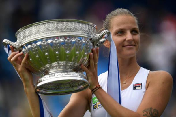 Karolina Pliskova after winning the Aegon International title in Eastbourne yesterday (Getty/Mike Hewitt)