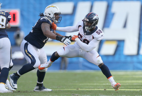 Von Miller attempting to rush the passer against the San Diego Chargers