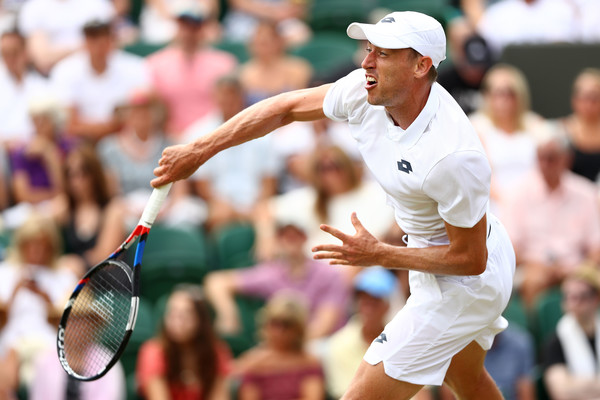 Millman cracks one of his effective serves during the second round cash. Photo: Matthew Stockman/Getty Images