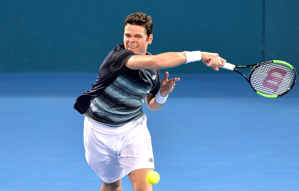 Milos Raonic in action at the Brisbane International, where he defeated Rafael Nadal for his biggest win of the year | Photo: Bradley Kanaris/Getty Images AsiaPac