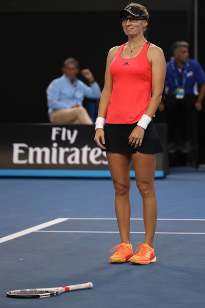 The Croatian could not help but to giggle after her victory over Radwanska | Photo: Mark Kolbe/Getty Images AsiaPac