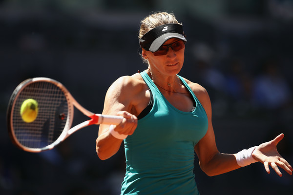 Mirjana Lucic-Baroni hits a forehand during her first-round match against Maria Sharapova at the 2017 Mutua Madrid Open. | Photo: Julian Finney/Getty Images
