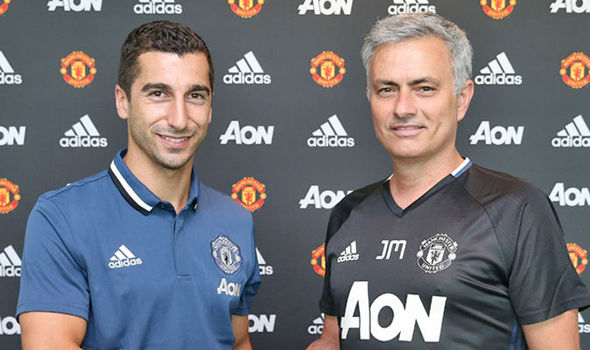 Mourinho pictured with new signing Mkhitaryan (photo: MUFC)