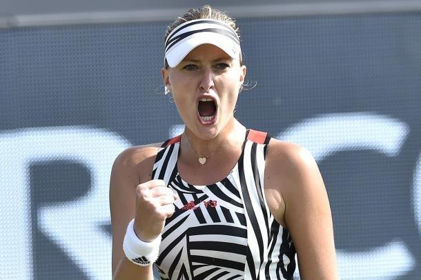 Kristina Mladenovic celebrates during an earlier win. Photo: Ricoh Open