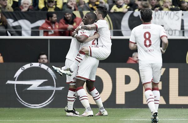 Above: Anthony Modeste celebrated his goal in FC Köln's 2-2 draw with Borussia Dortmund | Photo: www.ksta.de