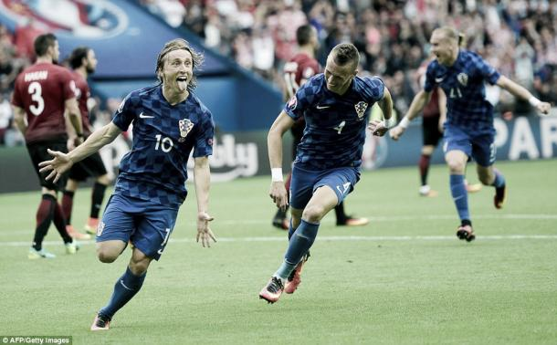 Above: Luka Modric celebrating his goal in Croatia's 1-0 win over Turkey | Photo: AFP / Getty Images