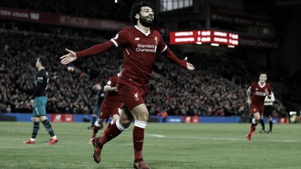 Salah gol ante Southampton. Foto: Premier League.