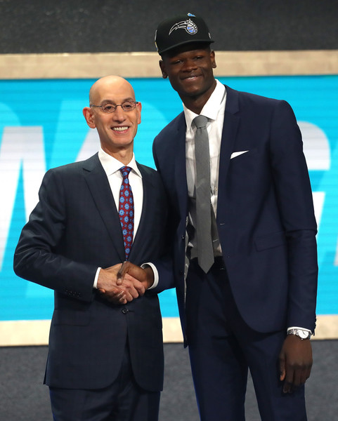 Mohamed Bamba poses with NBA Commissioner Adam Silver |Mike Stobe/Getty Images North America|