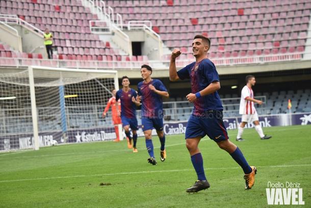 Monchu celebrando uh gol ante el Olympiacos. Foto: Noelia Déniz, VAVEL