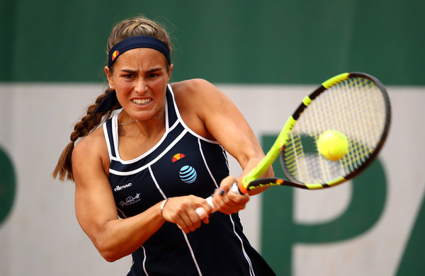 Monica Puig hits a backhand during her third round match against Madison Keys at the 2016 French Open. | Photo: Clive Brunskill/Getty Images Europe