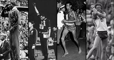 Os atletas Jesse Owens, Tommie Smith e John Carlos, Abebe Bikila e Kozakiewicz (Foto: VAVEL Brasil/ Hugo Alves)