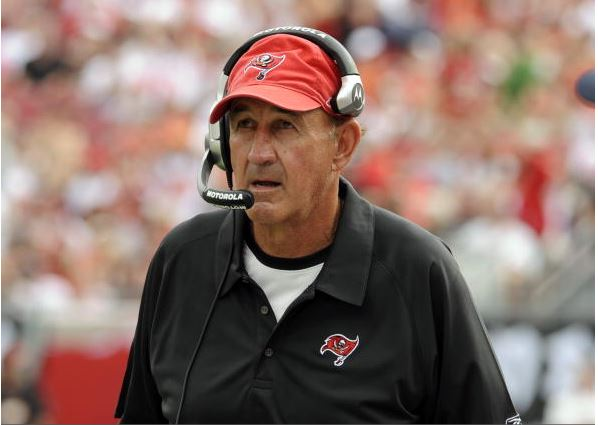 Defensive coordinator Monte Kiffin of the Tampa Bay Buccaneers watches play against the Carolina Panthers at Raymond James Stadium on December 30, 2007 in Tampa, Florida. (Photo by Al Messerschmidt/Getty Images)