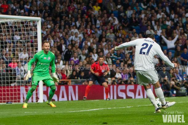 Morata anota el quinto gol ante Malarz   Foto: Daniel Nieto - Vavel.com