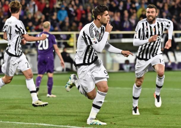L'esultanza di Alvaro Morata dopo un altro gol pesantissimo, quello contro la Fiorentina. | Google.