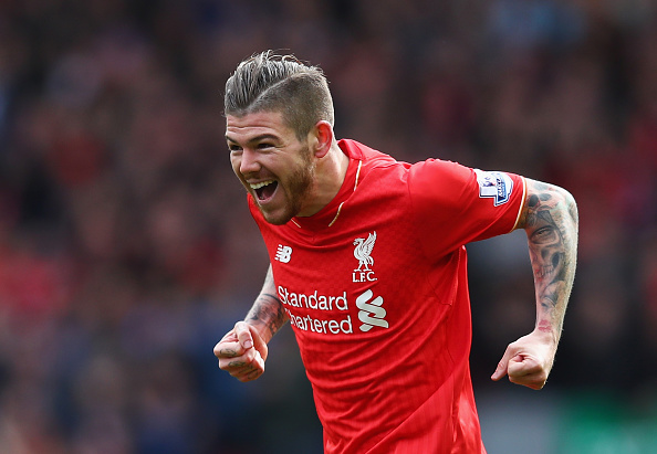 Alberto Moreno celebrates scoring Liverpool's first goal of the day.