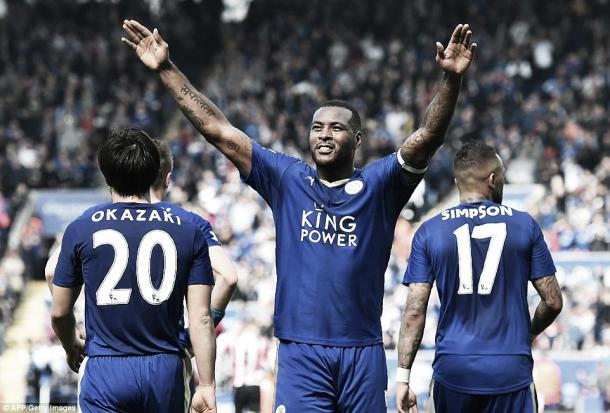 Above: Leicester City captain Wes Morgan celebrating his first Premier League goal in the 1-0 win over Southampton | Getty Images