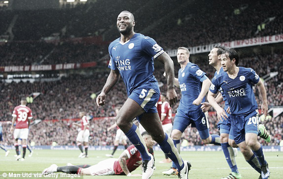 Above: Leicester City celebrates his goal in their 1-1 draw with Manchester United | Photo; Man Utd via Getty Images