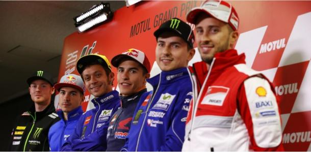 The line up at the pre-race press conference ahead of the Motul Grand Prix of Japan - www.motogp.com