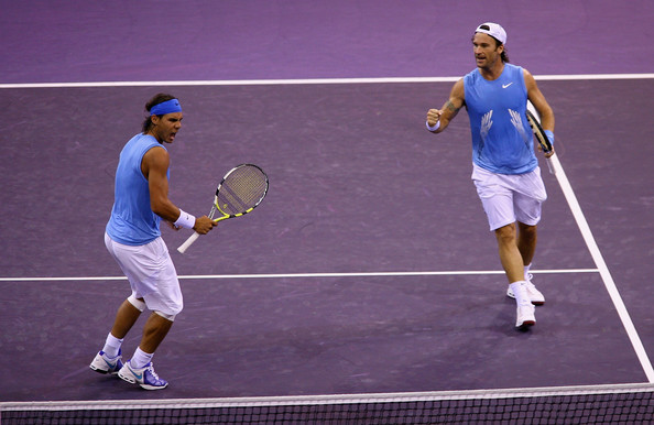 Nadal (left) and Moya in doubles action together back in 2008. Photo: Clive Brunskill/Getty Images
