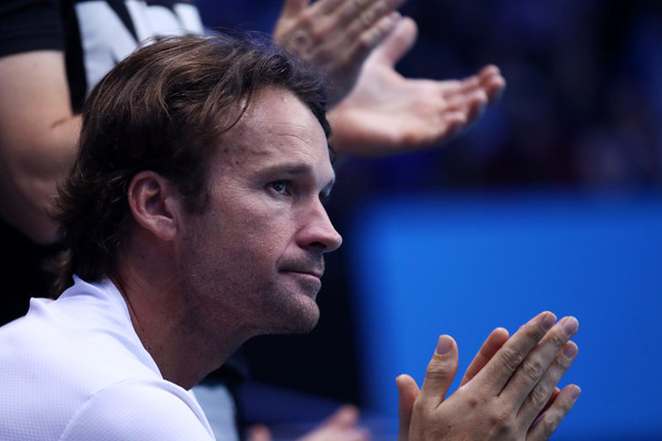 Carlos Moya looks on during one of Raonic's matches at the ATP World Tour Finals. Photo: Julian Finney/Getty Images