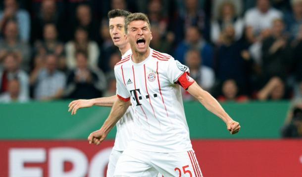Müller foi o grande destaque do jogo, com um hat-trick (Foto: Reprodução/FC Bayern)