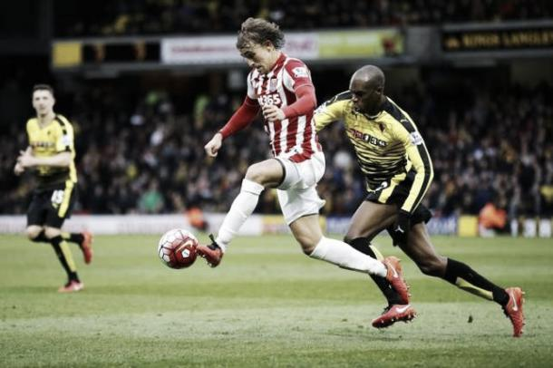 Muniesa takes the ball past Ighalo. Photo: Action Images / Darren Staples Livepic