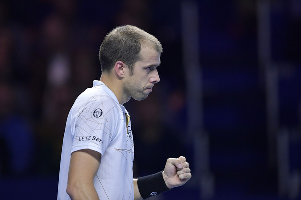 Gilles Muller pumps his fist during his semifinal loss. Photo: Harold Cunningham/Getty Images