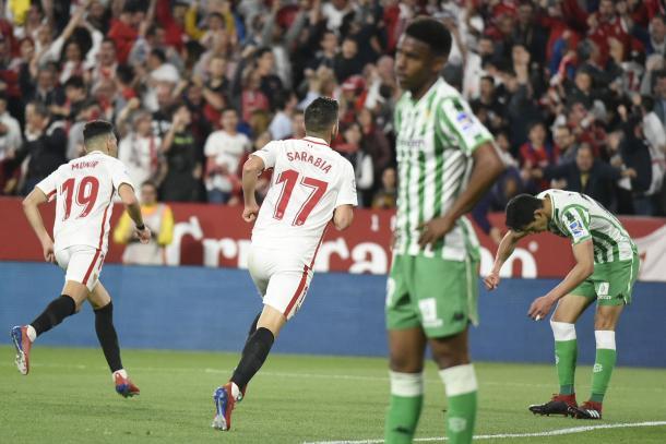 Sarabia y Munir marcaron los dos primeros tantos sevillistas en el último derbi | Foto: Sevilla FC