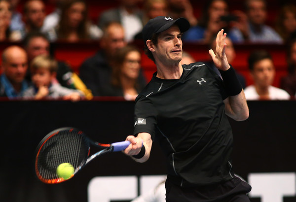 Andy Murray hits a forehand during the Vienna final. Photo: Jordan Mansfield/Getty Images