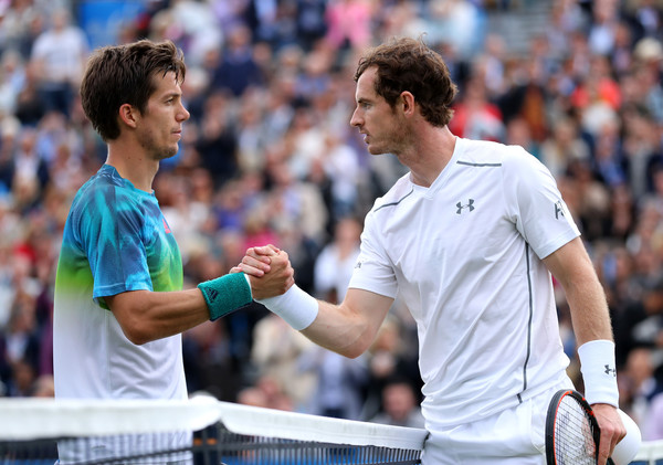 Bedene (left) and Murray shake hands after the match. Photo: Richard Heathcote/Getty Images