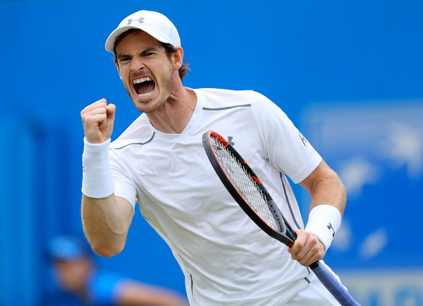 Murray celebrates a point during his finals victory. Photo: Richard Heathcote/Getty Images