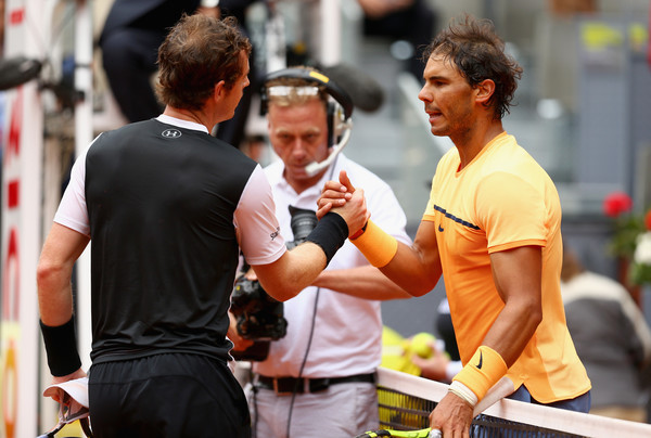 Rafael Nadal (right) shakes hands with Murray after the Scot's win in the Madrid semifinal. Photo: Clive Brunskill/Getty Images