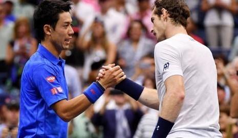 Kei Nishikori (right) and Murray shake hands after Nishikori's upset win at the US Open. Photo: Getty Images