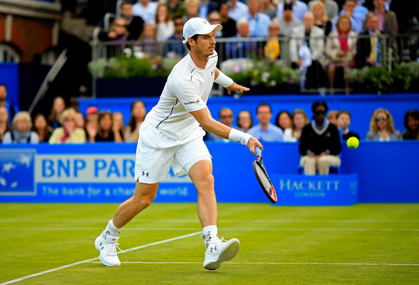 Andy Murray hits a forehand volley during his victory. Photo: Ben Hoskins/Getty Images